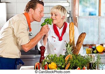 旅館, 餐館, 廚師, 烹調, 或者, 廚房