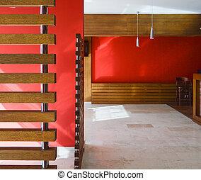 旅館, 餐館, 紅色, 空, 內部, 裝飾, 酒吧, 葡萄酒, 或者, 現代, 木制