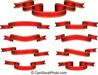 旗幟, 矢量, 集合, 紅的緞帶