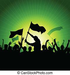 旗, 人群, 愉快