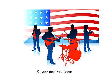 旗, 音樂帶子, 活, 美國人