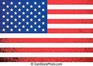 旗, grunge, 美國人, 插圖, usa.