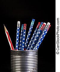 旗, pencils.