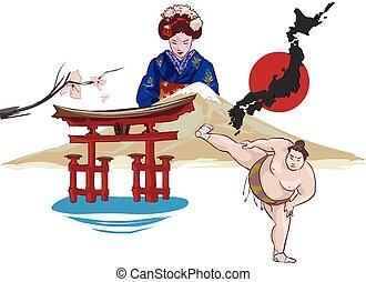日本, 矢量, 插圖
