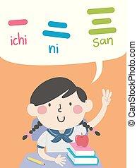 日語, 插圖, 123, 數字, 女孩, 孩子