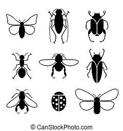 昆虫, 集合, 矢量, 黑色半面畫像, 圖象