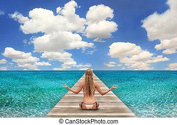 明亮, 婦女, 海灘場景, 天