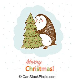 明信片, 樹擁抱, 矢量, 聖誕節, 企鵝