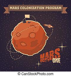 明信片, 葡萄酒, 火星, 項目, 殖民地化
