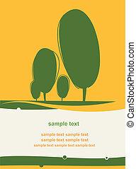 明信片, 被風格化, 樹