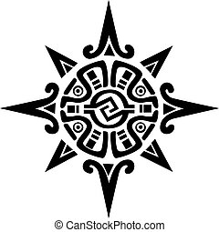 星, 太陽, 符號, mayan, incan, 或者