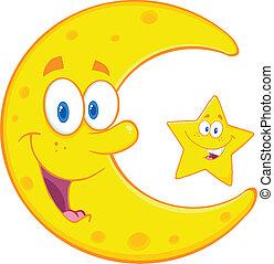 星, 愉快, 月牙形的月亮
