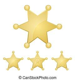 星, 矢量, 插圖, 被隔离, 白色, 郡長, 設計, 徽章, 金黃 背景
