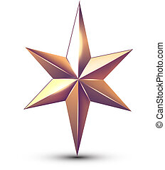 星, 被隔离, 銀, 矢量, 有光澤, 聖誕節, white.