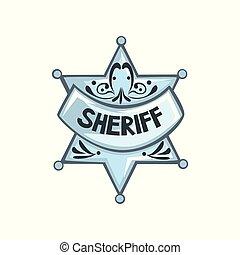 星, 郡長, 插圖, 矢量, 背景, 白色, 徽章, 銀