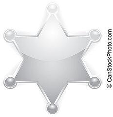星, 郡長, 矢量, 白色, 徽章, 銀