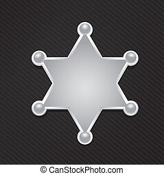 星, 郡長, 矢量, 黑色, 徽章, 銀