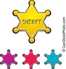 星, 郡長, 顏色, 被隔离, 矢量, 白色