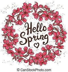 春天, 你好, 卡片, 問候