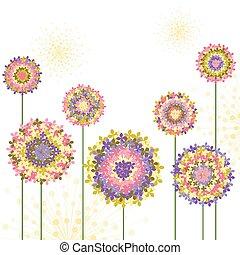 春天, 八仙花屬, 花, 鮮艷, 背景