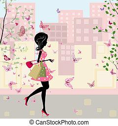 春天, 女孩, 購物