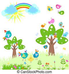 春天, 明亮, 彩虹