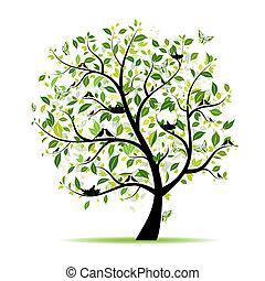 春天, 樹, 你, 綠色, 設計, 鳥