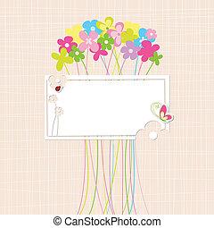 春天, 花, 鮮艷, 卡片, 問候