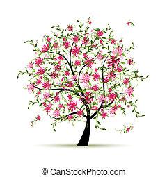 春天, 設計, 樹, 你, 玫瑰