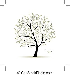 春天, 設計, 樹, 綠色, 你