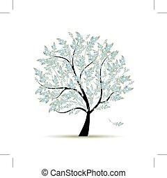 春天, 設計, 花, 樹, 你