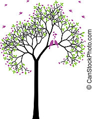 春天, 鳥, 矢量, 愛, 樹