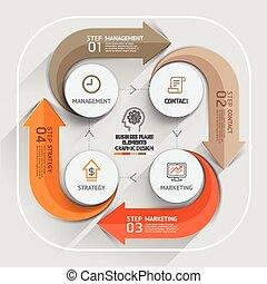 是, 使用, timeline., 計划, 事務, 工作流程, 選擇, 現代, 數字, 元素, infographics, 圖形, 布局, 矢量, 罐頭, 箭, template., 网設計, illustration.