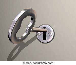 是, 鎖, 轉動, 插圖, 鑰匙, 晴朗, 銀