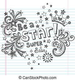 是, sketchy, 矢量, 星, doodles