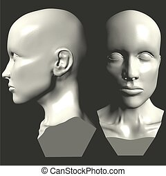 時裝模特, 頭, 婦女, 矢量, 0...