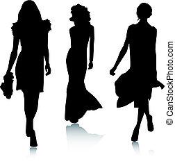 時裝, 黑色半面畫像, 婦女
