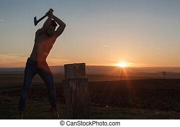 時髦, lumberjack, 黑色半面畫像, work.