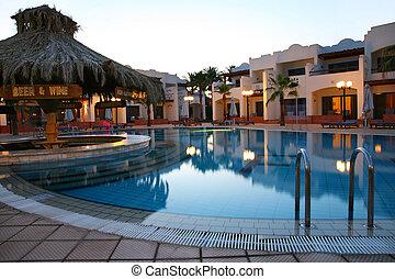 晚上, 射擊, 旅館, 熱帶, 池, 游泳