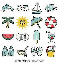 暑假, 海, 圖象