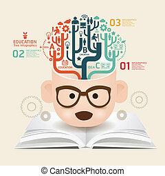 書, 樣板, 使用, 線, 傷口, infographics, /, 矢量, 網站, cutout, 水平, 圖表, 紙, 圖形, 風格, 是, 布局, 創造性, 或者, 罐頭