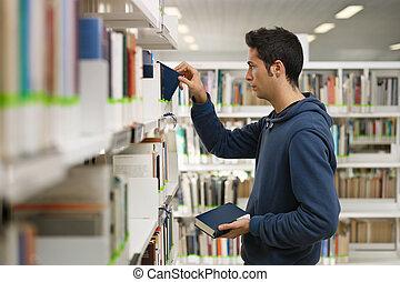 書, 選擇, 圖書館, 人