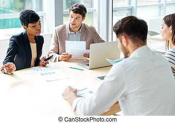 會議, 工作, 事務, businesspeople, 一起, 會議室