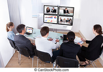 會議, 影像, 組, businesspeople