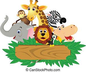 有趣, 卡通, 動物