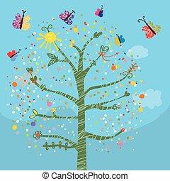 有趣, 蝴蝶, 孩子, 樹, 卡片