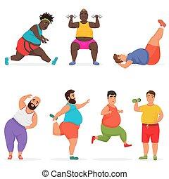 有趣, 集合, 字符, 體操, 肥胖, 矢量, fitness., exercises., 胖乎乎, 運動, 測驗, 人