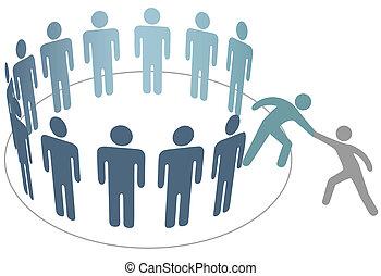 朋友, 人們, 加入, 幫助, 成員, 組, 公司, 幫手