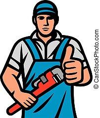 服務, 向上, 藏品, 水暖工, 猛扭, 顯示, design), (plumbing, 拇指