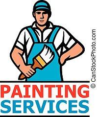 服務, 畫, 刷子, 設計, 藏品, 專業人員, 畫, -, 畫家
